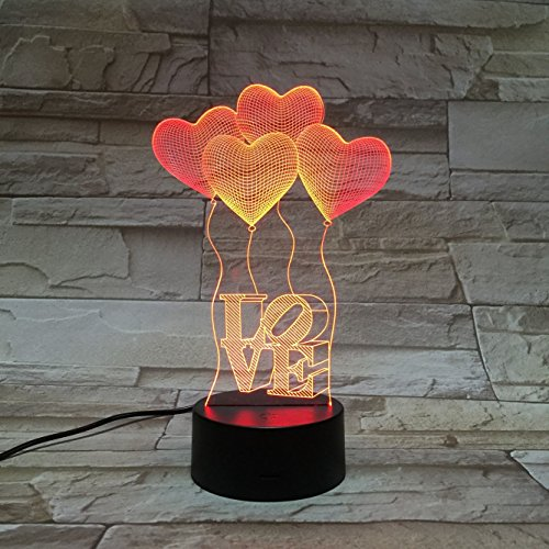 Gift Ideas Love Balloon Heart Night Lights 3D Illusion Lamp Led Desk Lamps Unique Anniversary Gifts for Baby Home Decor Office Bedroom Wedding Party Decorations Nursery Lighting 7 Color (love heart)