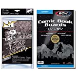 Bundle - 2 Items: 100-Pack of Comic Book Boards & 100-pack of Resealable Comic Bags (Current Size)