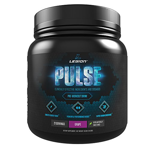LEGION Pulse, Best Natural Pre Workout Supplement for Women and Men  Powerful Nitric Oxide Pre Workout, Effective Pre Workout for Weight Loss, Top Pre Workout Energy Powder, Grape, 1.15lbs