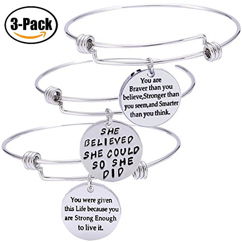 Pack of 3 Inspirational Bangle Bracelets, Inspirational Gifts, Inspirational Jewelry, Women Bangles, Strength Believe Confidence Gift (Pack of 3 Mixed Styles)