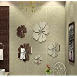 ColorfulHall Blooming Flower Mirror wall sticker metal look 3D design wall decals for bathroom washroom bedroom Decor