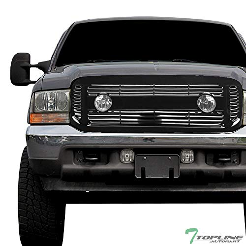 Topline Autopart Glossy Black Horizontal Front Hood Bumper Grill Grille ABS with Fog Lights For 99-04 Ford F250 / F350 / F450 / F550 Superduty ; 00-04 Excursion ()