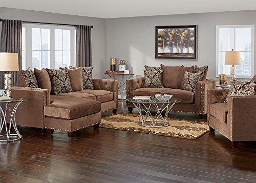 Amazon.com: THE ROOMPLACE Newcastle Mocha 3 Pc. Living Room With Sofa  Chaise   Loveseat: Kitchen U0026 Dining