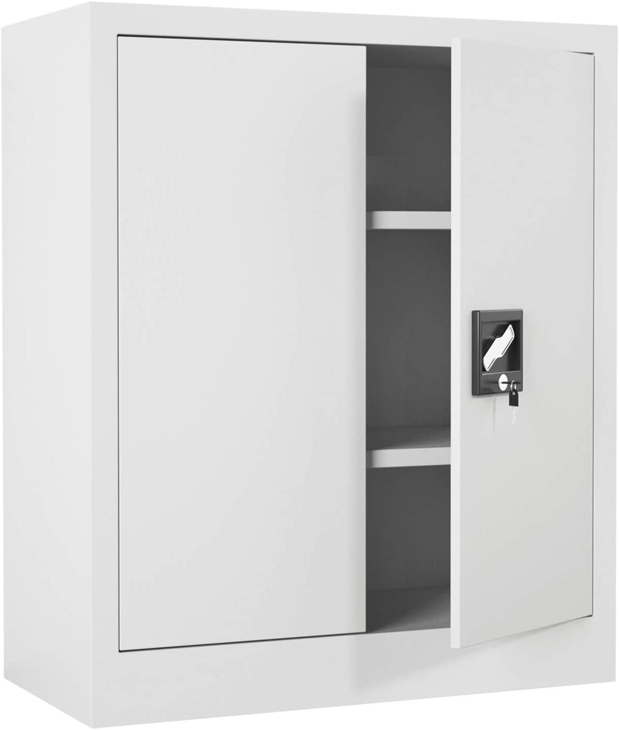 iJINGUR Metal Storage Cabinet with Locking Doors & 2 Height Adjustable Shelves for Office, Garage and Kitchen Pantry (Gray)