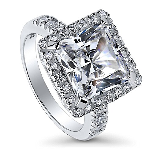 BERRICLE Rhodium Plated Sterling Silver Princess Cut Cubic Zirconia CZ Statement Halo Cocktail Fashion Right Hand Ring Size 8 Clear Princess Cocktail Ring