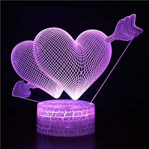 SanQ-Seven Cupid Piercing The Heart Mark 3D Lamp Game LED Night Light 7 Color Change Touch Mood Lamp, Table Lamp Atmosphere Decoration, Christening Gift for Boy@Black Base (Best Salt Lamps 2019)