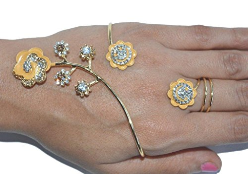 Sunrise Exporters Indian Designer Exclusive Diamond Ftd Party Wear Bracelets with Ring (Panja)