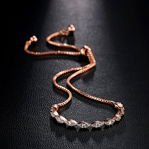 DIFINES Redbarry Marquise Shaped CZ Diamond Paved 18k Rose Gold Plated Adjustable Bracelet for Women Girls by DIFINES (Image #3)