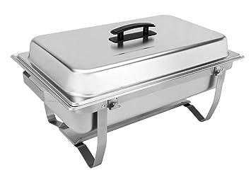 Sterno 70153 - Juego de bandejas plegables para buffet, aproximadamente 8 litros, color plateado