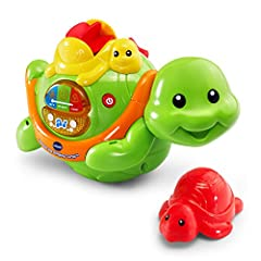 Make bath time fun time with Splash the Singing Turtle by VTech! Place the friendly floating turtle in the bathtub and press the button to hear the water temperature. Little ones will love scooping and pouring water over the water wheel on th...