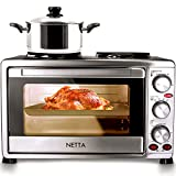 NETTA Electric Mini Oven with Double Hotplate, Multiple Cooking Functions & Grill, Adjustable Temperature Control,Timer