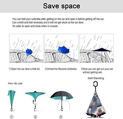 人と象 ユニセックス二重層防水ストレート傘車逆折りたたみ傘C形ハンドル付き