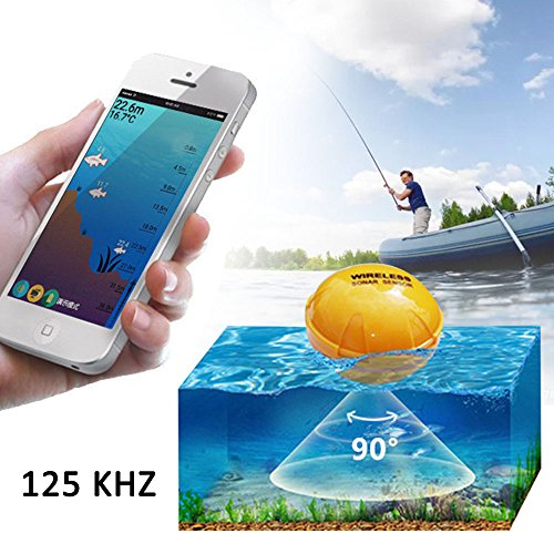 PiscatorZone Wireless Remote Sonar Sensor Fish Finders Intelligent Fish Detector for Boats Transducer,Visual High-definition LCD Display in Cell Phone Bluetooth, Water Depth Definition Lcd