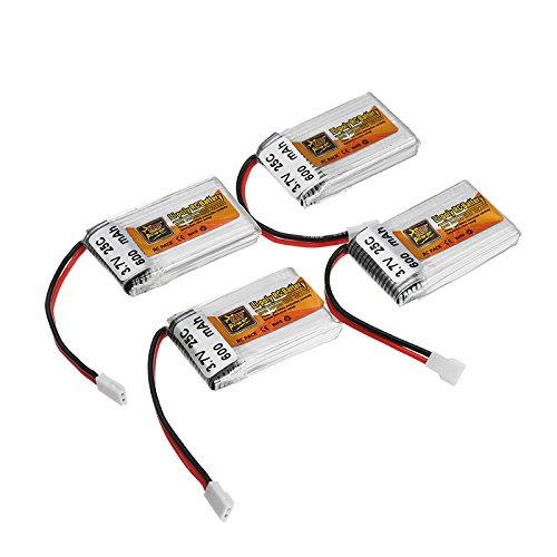 4 x zop power 3.7v 600mah 25c lipo battery white plug B07F5Y1QGK