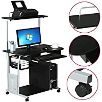 Yaheetech 2 Tier Home Office Computer Desk w/ Printer Shelf Stand Study Table Black (Style E)