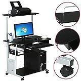 Yaheetech 2 Tier Home Office Computer Desk w/Printer Shelf Stand Study Table Black (Style E)