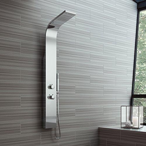 iBathUK Stainless Steel Thermostatic Mixer Shower Panel Set Brass Valve...