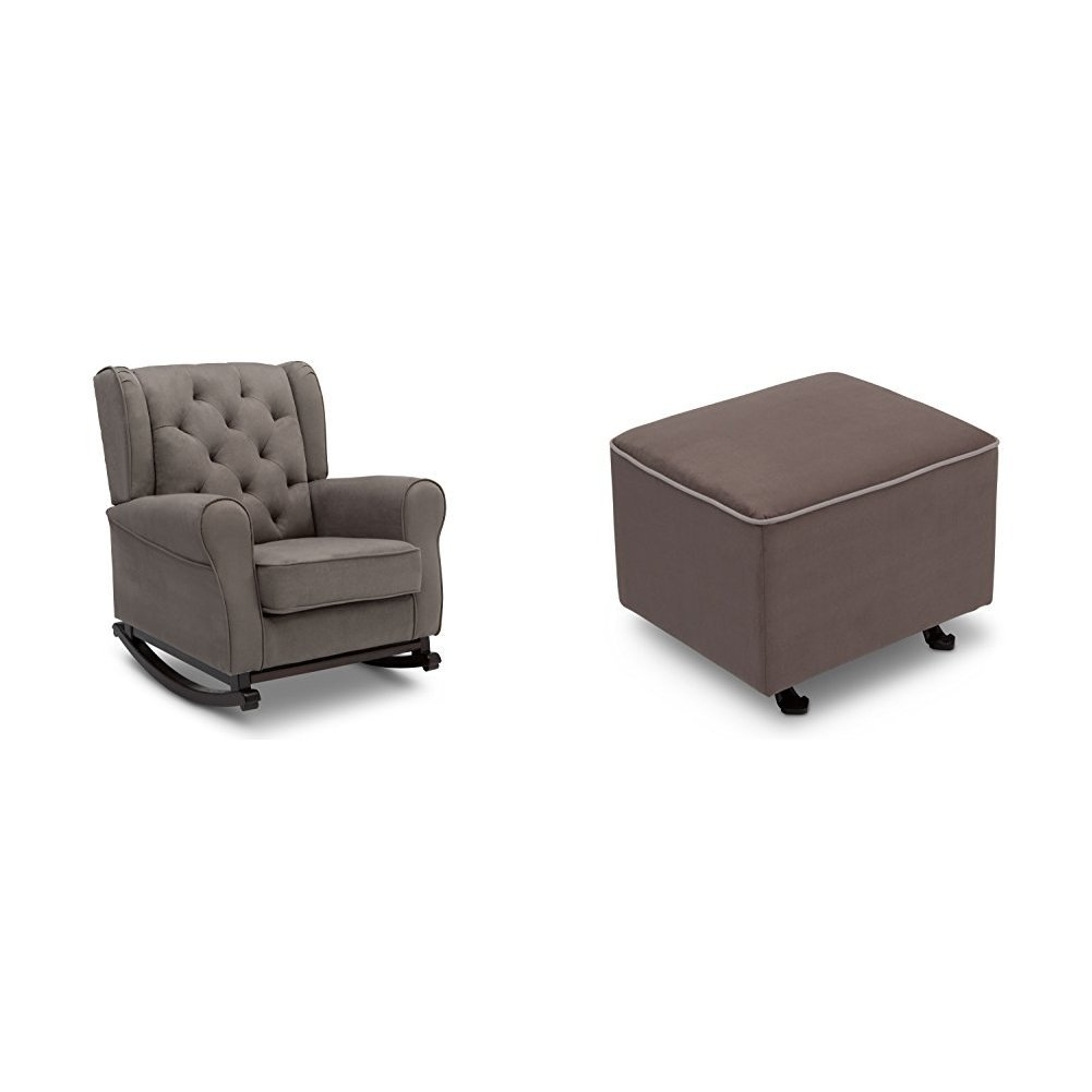Delta Furniture Emma Rocking Chair and Gliding Ottoman with Dove Grey Welt, Graphite
