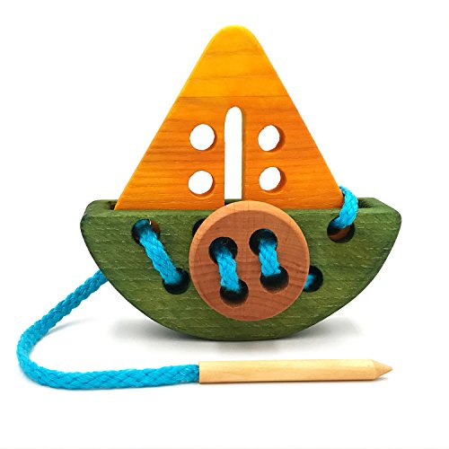Pawoo Toys Montessori Wooden Lacing Ship Boat Toy by Educational Game and Great Addition to a Car or Plane Toy Box for Travel with Kids - Toddler Christmas Gift