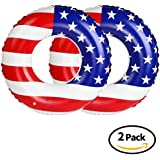 Free Swimming Baby Inflatable American Flag Swimming Pool and Lake Tube Float, Pool Toys for Swimming Pool Party Decorations (2Pack, 90#)