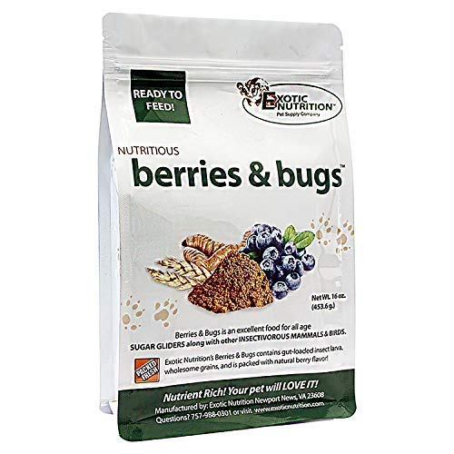 Berries & Bugs (10 lb.) - All Natural High Protein High Fiber Insectivore Diet with Fruit, Gut-Loaded Insects, & Healthy Vitamins - Hedgehogs, Sugar Gliders, Skunks, Opossums & Other Insectivores by Exotic Nutrition