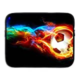 Business Briefcase Sleeve Colorful Fire Football Soccer Laptop Sleeve Case Cover Handbag For 13 Inch Macbook Pro Air Lenovo Samsung