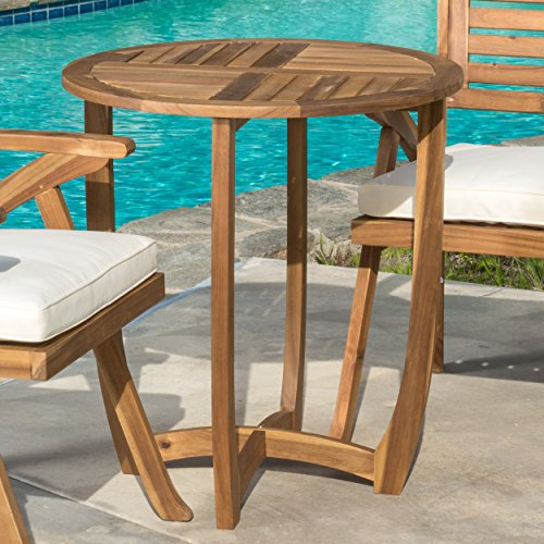 Great Deal Furniture Navarro | Round Wood Outdoor Accent Table | Perfect for Patio | with Teak Finish