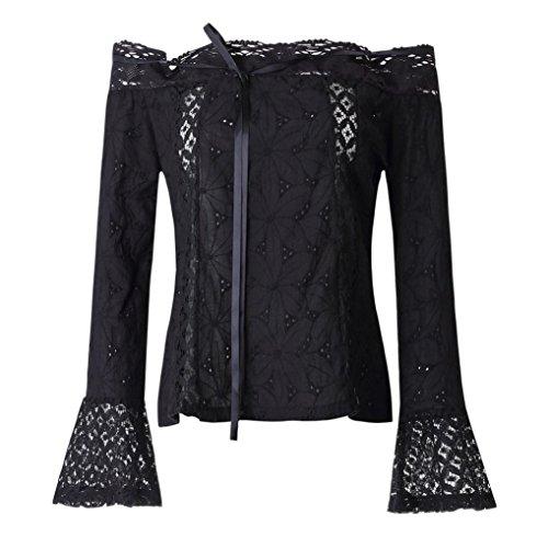 Pizzo ABCone Autunno Casual T Shirt Felpa Nero Maniche Barra Lunghe Donna Tops Collo Camicie Elegante Pullover Camicette txY6xP