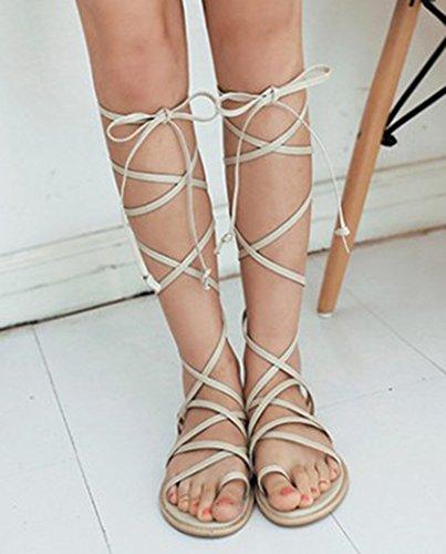 Aisun Womens Elegante Piatto Gladiatore Auto Gilly Cravatta Anello Punta Allacciata Sandali Con Lacci Scarpe Beige