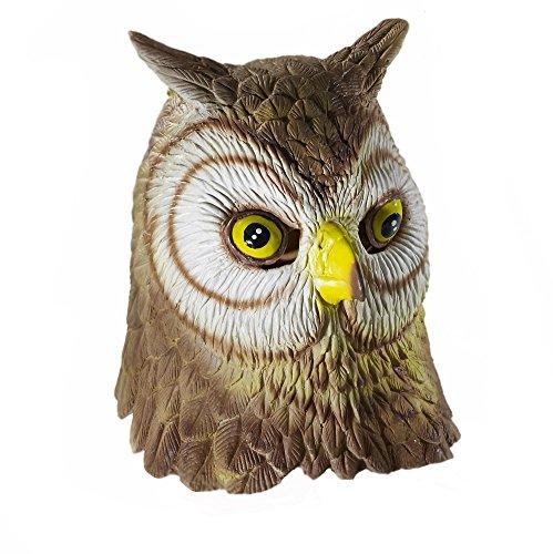 Awesome Raptor Costume (Adult Latex Full Head OWL Mask Costume Accessory)
