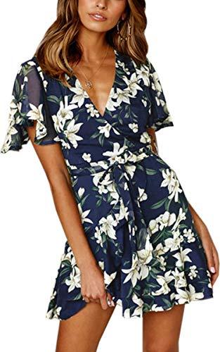 Angashion Women's Floral Short Sleeve Wrap V Neck Ruffle Mini Dress with Belt Blue S