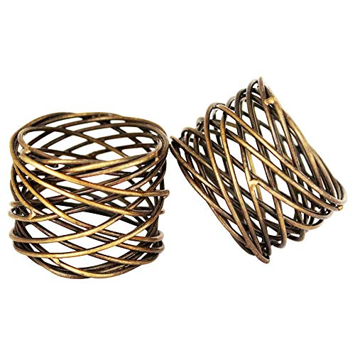 Jovial International Antique Mesh Napkin Rings Set of 4,Beautifully Designed for Weddings Dinner Parties or Every Day Use (Antique,Set of 4) ()