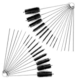 DanziX Nylon Tube Brush Cleaner, 2 Sets of Pipe Cleaning Brush Kit Total 30 PCS with Free Pouch for Drinking Straws Glasses Keyboards Jewelry - 20 Brushes + 10 Needles