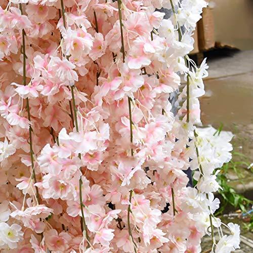 Lmeison Artificial Cherry Blossom, Fake Cherry Blossom Flowers Pink Hanging Vine Silk Garland Wreath for Wedding Arch Decor Wedding Party Decor, 3 - Cake Wedding Blossom Cherry