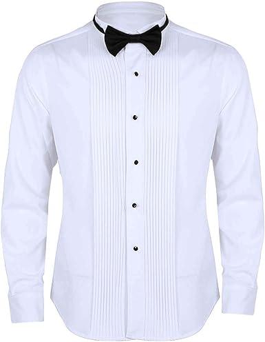 iixpin Camisa Manga Larga Blanca de Esmoquin Gentlemen Camisa Hombre Blusa Slim Fit con Corbata Cuello de ala Frontal Puño Francés Lazo para Trabajo Blanco Camiseta Trabajo: Amazon.es: Ropa y accesorios