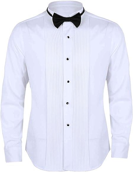 ranrann Camisa Manga Larga para Hombre Caballero Camisas de Vestir con Corbata de Moño Slim Fit Camisa de Negocios Traje Formal para Boda Fiesta Blanco Medium: Amazon.es: Ropa y accesorios