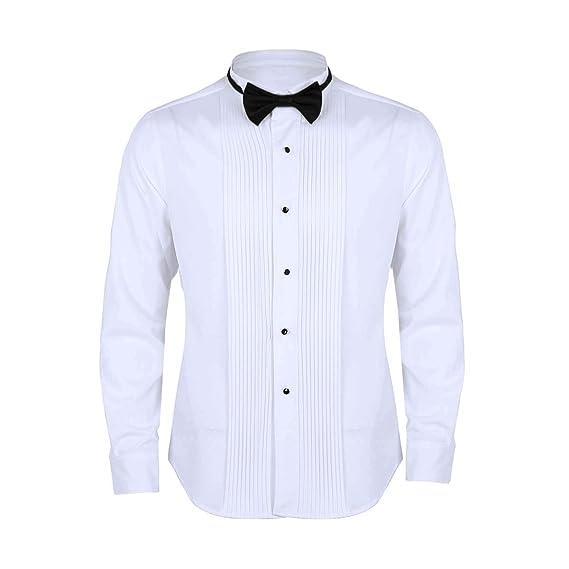 Freebily Camisa Manga Larga Blanca Hombres Slim Fit con Corbata de Moño Camisa Formal de Negocios Trabajo Casual