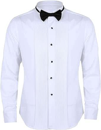 iixpin Camisa Manga Larga Blanca de Esmoquin Gentlemen Camisa Hombre Blusa Slim Fit con Corbata Cuello de ala Frontal Puño Francés Lazo para Trabajo ...