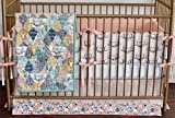 3 PIECE SET- QUILT, BUMPERS, SKIRT - WOODLAND GIRL BEDDING, WIL ONE, ANTLERS