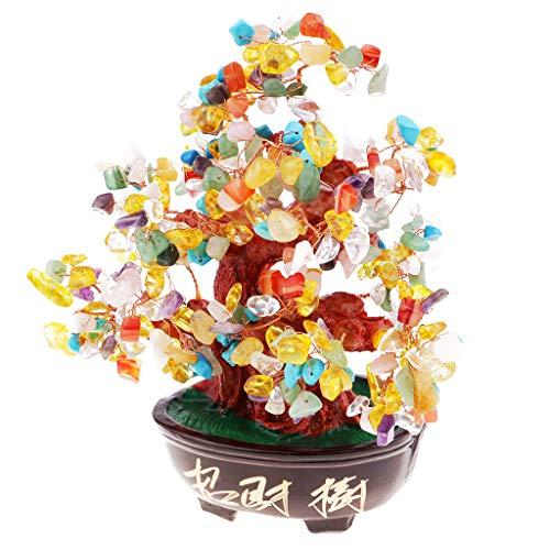 D DOLITY 9'' Crystal Money Tree Feng Shui Natural Quartz Gemstone Fortune Decoration C
