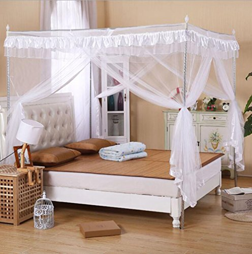 Mengersi Princess 4 Corners Post Bed Curtain Canopy Mosquito Netting (White, California King) ()