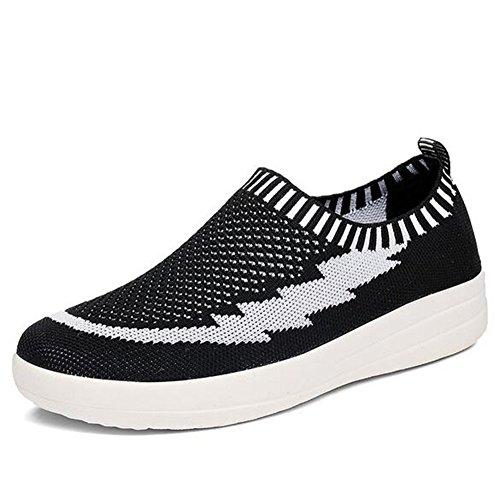 Zapatos Casuales para Mujer, Zapatillas Zapatillas atléticas Zapatillas de Deporte de Malla Casual - Zapatillas de Deporte Transpirables Zapatillas de Punto Lady Knit Lazy (Color : Azul, tamaño : 36) Blanco