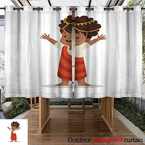 RenteriaDecor Outdoor Curtains for Patio Sheer Girl Wearing National Costume of Africa Colorful Character Vector Illustration W63 x L72 ()