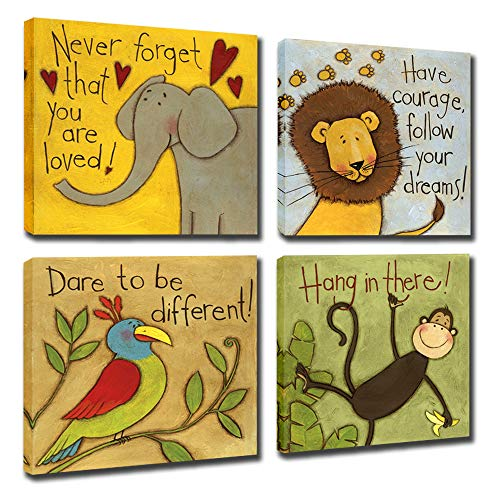 - Vintage Cartoon Animal Canvas Wall Art Elephant Lion Monkey Parrot Inspiration for Kids Boy Girl Room Decoration,Framed (Animals, 12x12inchx4pcs (30x30cmx4pcs))
