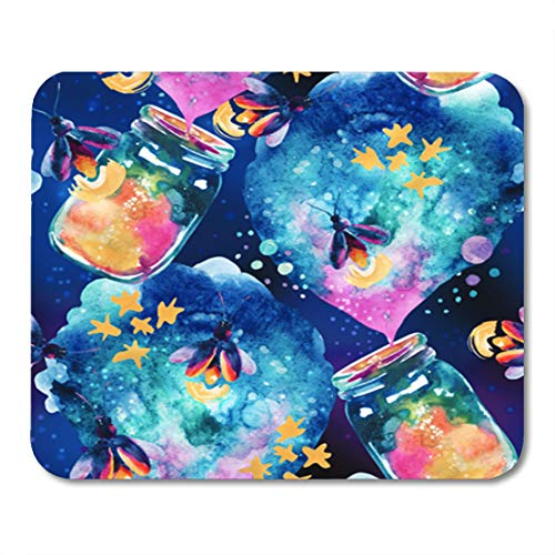 Semtomn Gaming Mouse Pad Abstract Fairy Tale Magic Bottle and Firefly Watercolor Lantern 9.5
