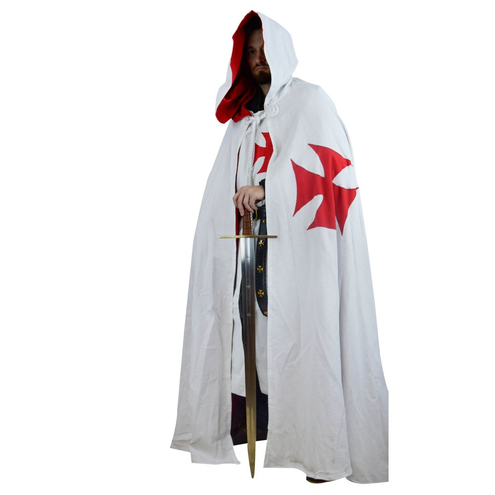 Lord Of Battles Templar Cape with Hood White - Red