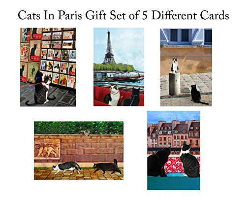 Cats in Paris Greeting Cards, Five Assorted Gift Set or Stationery, Handmade 5