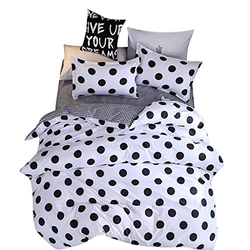 (Polka Dot Duvet Cover Set, Vine_MINMI Bedding Sheet Sets, Black Dotted Modern Pattern Printed on White with Zipper)