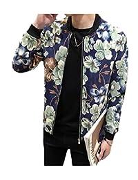Baseby Men's Flower Print Fashion Overcoat Slim Fit Varsity Jackets
