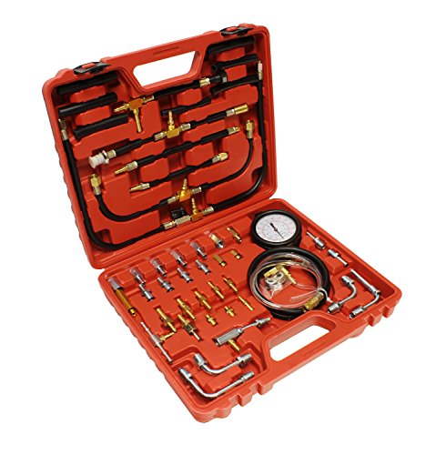 ABN Master Fuel Injection Pressure Test Kit - Universal Injector Set of Dual PSI/Bar Gauge, Hose Tubing, Fittings